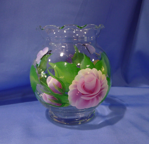 Hand Painted Clear Round Ivy Vase