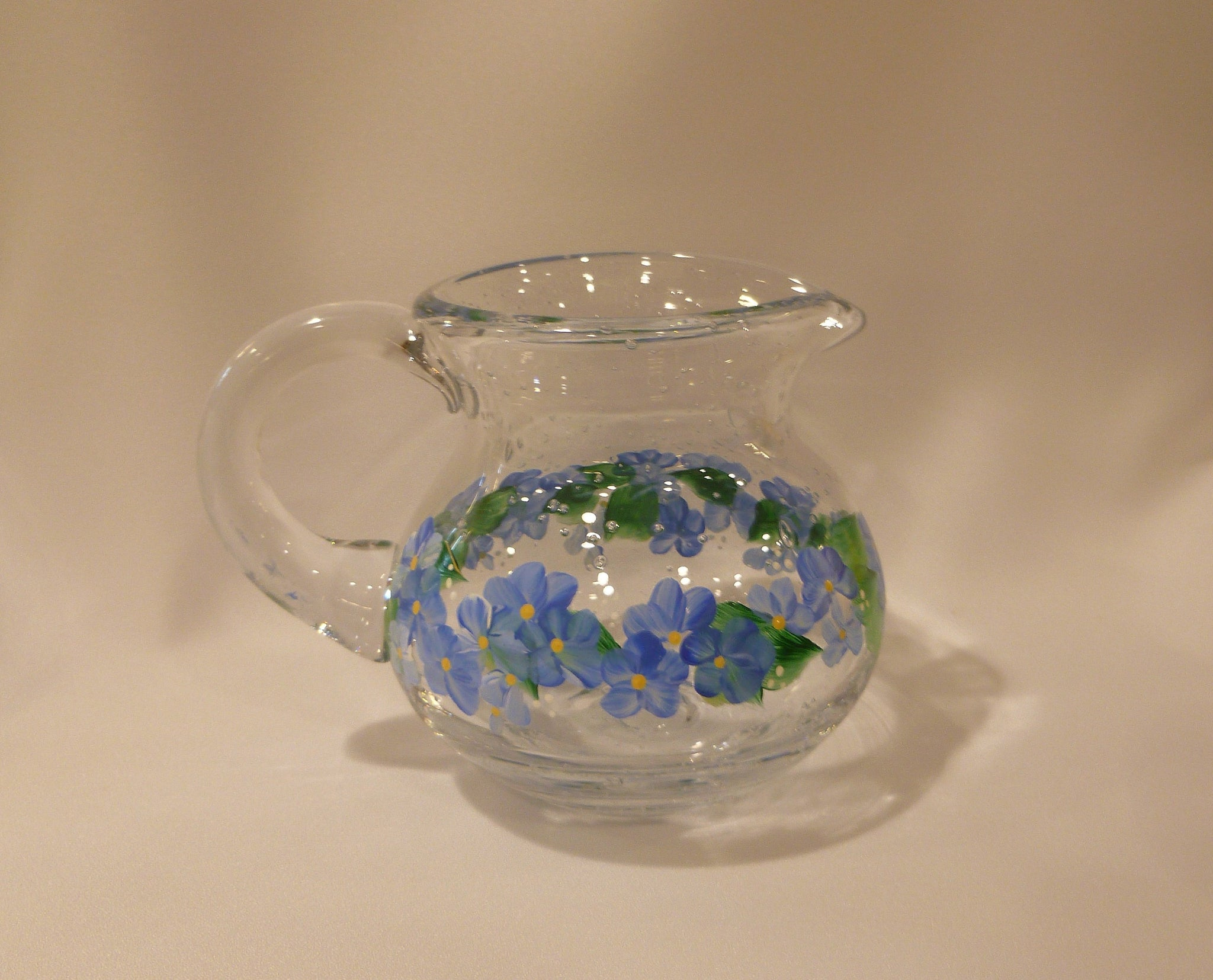 Hand Painted Small Glass Pitcher - Vase with Cornflower Blue Flowers