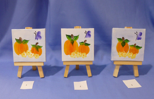 Hand Painted Mini Canvas Painting 3x3 with wood easel - Pumpkins