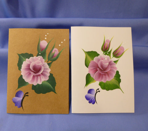 Hand Painted Note Card - Pink Roses and Blue Butterflies