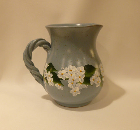 Hand Painted Blue Gray Ceramic Pitcher