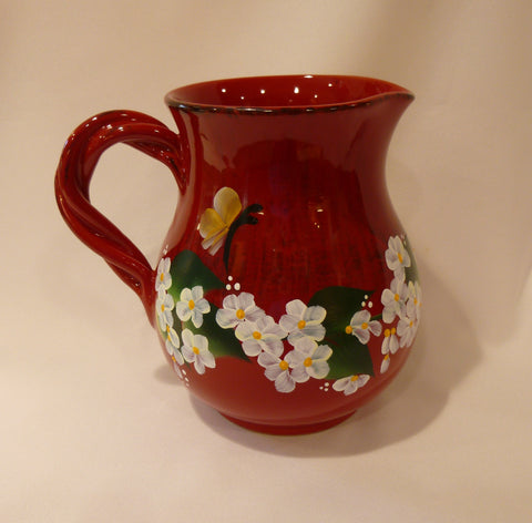 Hand Painted Red Ceramic Pitcher