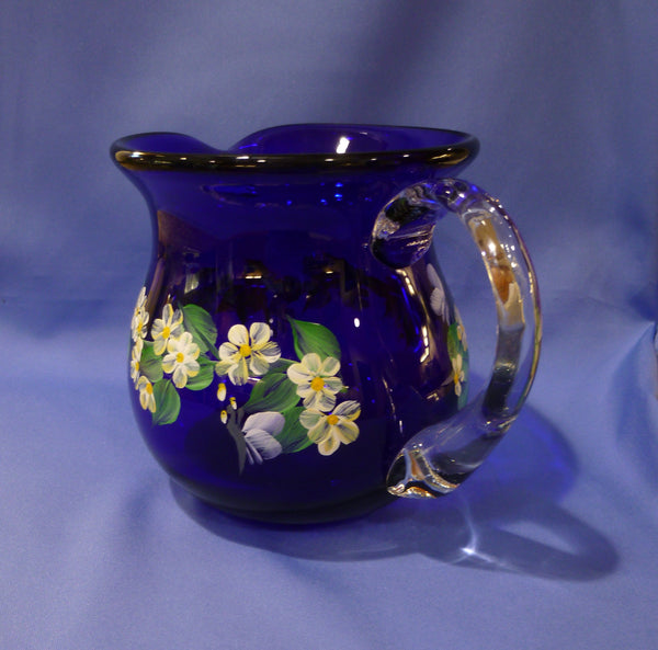 Hand Painted Small Cobalt Blue Pitcher-Vase with White Flowers