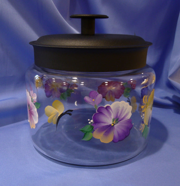 Hand Painted Glass Container with Dark Lid - Pansies & Butterflies