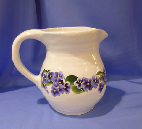 Hand Painted White Ceramic Pitcher