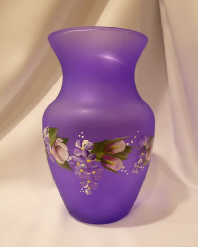 Hand Painted Frosted Lavender Vase with Colorful Flowers