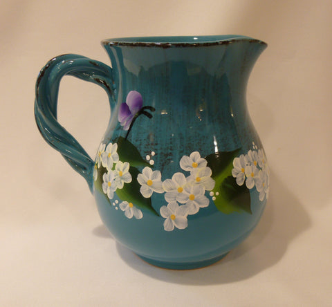 Hand Painted Turquoise Blue Ceramic Pitcher