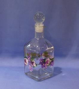 Hand Painted Small Olive Oil Bottle - Pink Roses, Purple Flowers