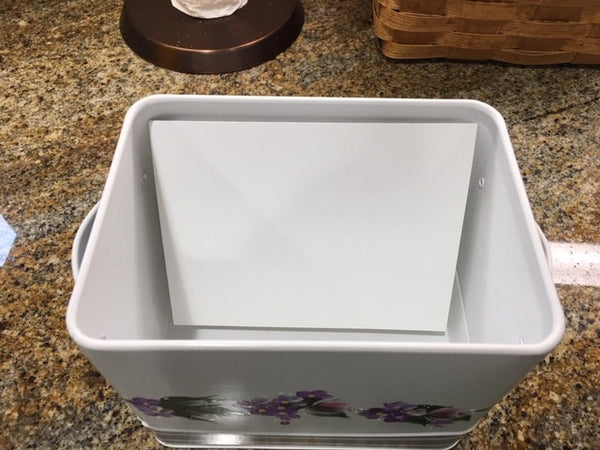 Hand Painted White Metal Container with Handled Lid