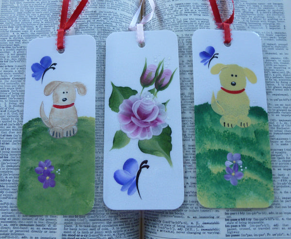 Hand Painted Bookmarks - Dogs, Pink Roses