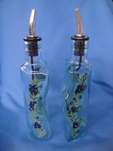 Hand Painted Oil and Vinegar Bottle Set - Blue Berries