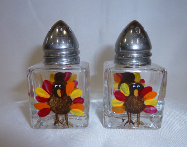 Hand Painted Mini Salt and Pepper Shakers - Turkeys