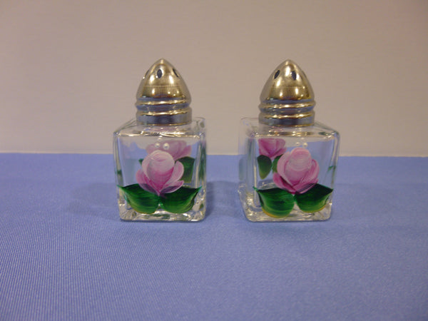 Hand Painted Mini Salt and Pepper Shakers - Pink Roses