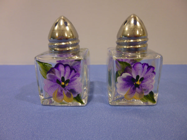 Hand Painted Mini Salt and Pepper Shakers - Purple Pansies