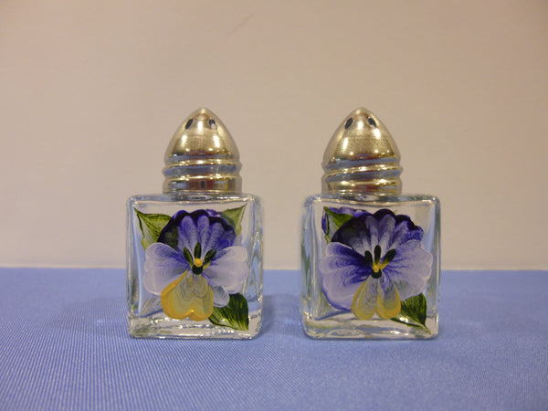 Hand Painted Mini Salt and Pepper Shakers - Blue Pansies