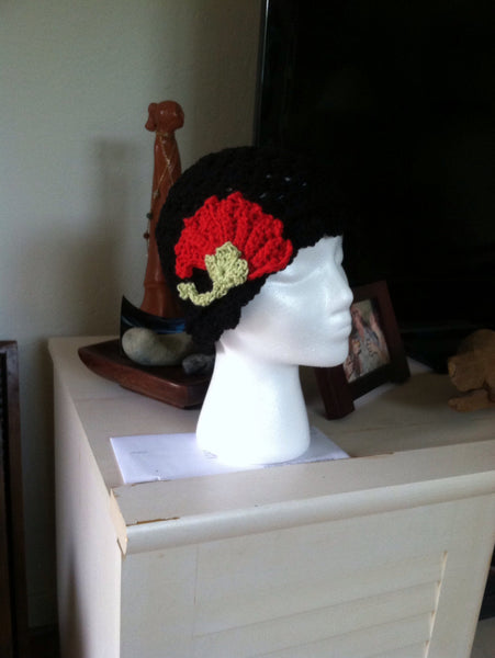 Black Hat with Red Flower