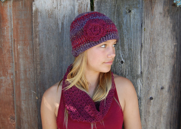 Multi Color Wine Color Flapper Cloche Hat with Wine Red Rose