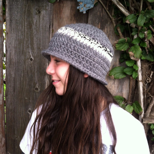 Cloche Crochet Grey with Grey, White, Black Band