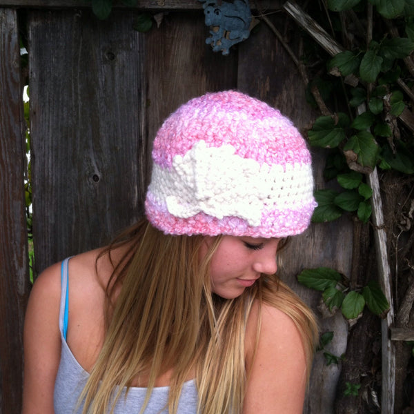Pink Cloud Cloche with Cream Color Flower & Cream Band