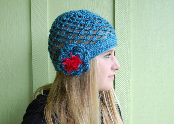 Blue Mesh Cloche with Contrasting Red-Orange Flower