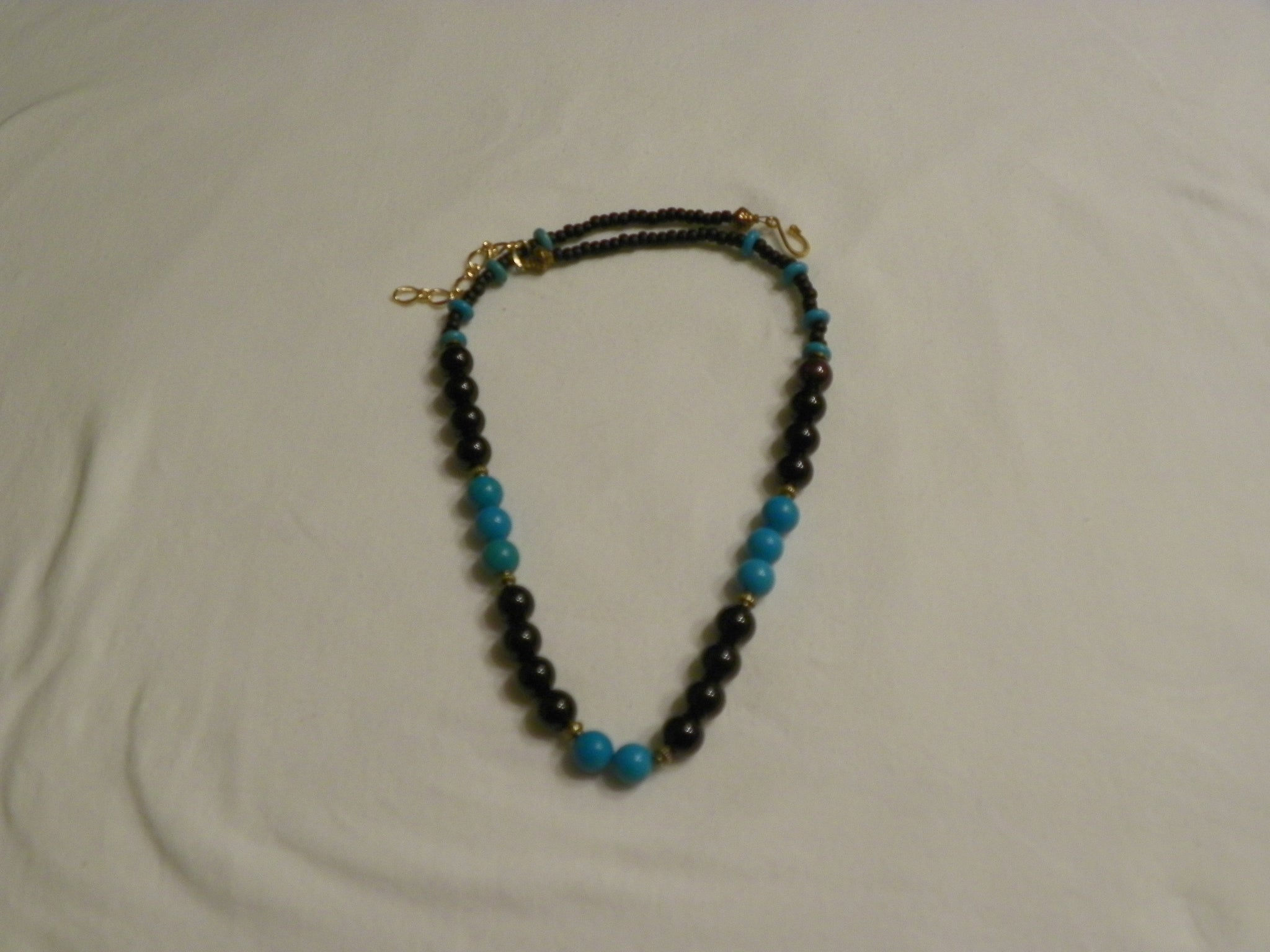 Single Strand Round Onyx and Turquoise Stones 6mm Necklace