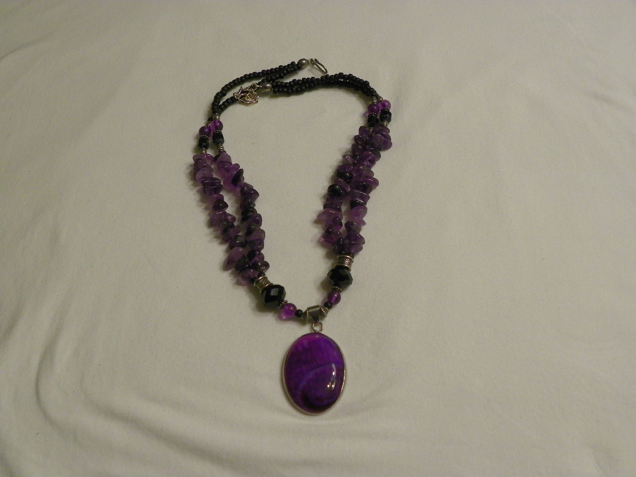 Amethyst Chips & Purple Geode Pendant Necklace