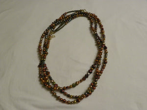 Copper Freshwater Pearls Double Strand Necklace 36""