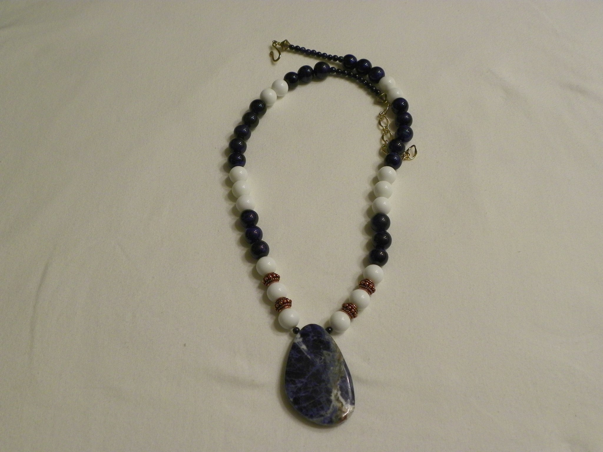 Lapis and White Onyx Beads & Sodalite Pendant Necklace