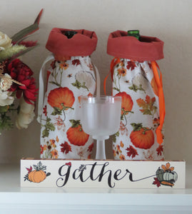 Fall Bottle Gift Bag - Pumpkins