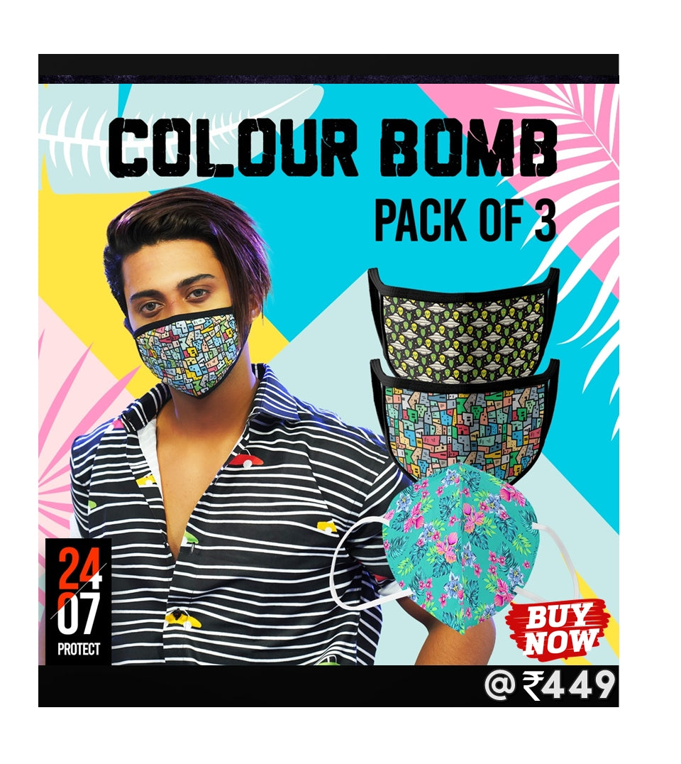 Colour Bomb - 6 Layer Face Mask - Pack of 3