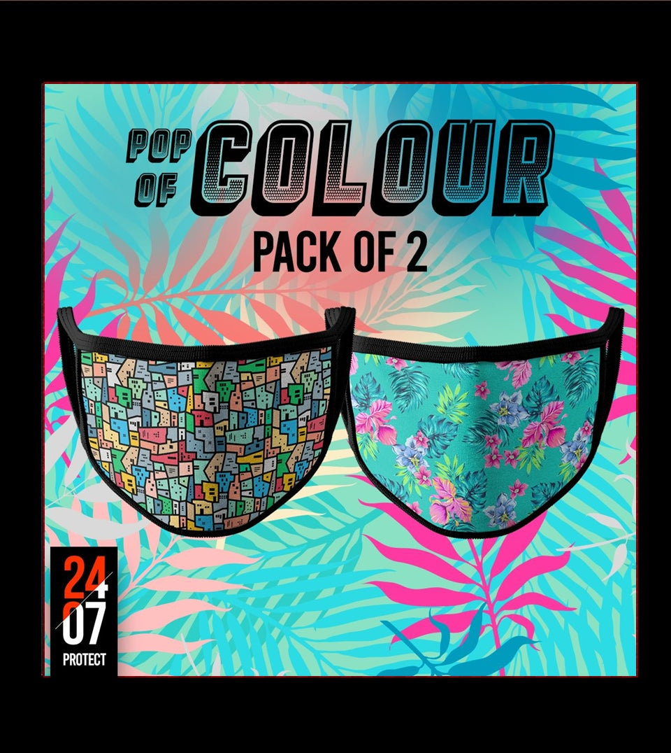 Pop of Colour - 6 Layer Face Mask - Pack of 2