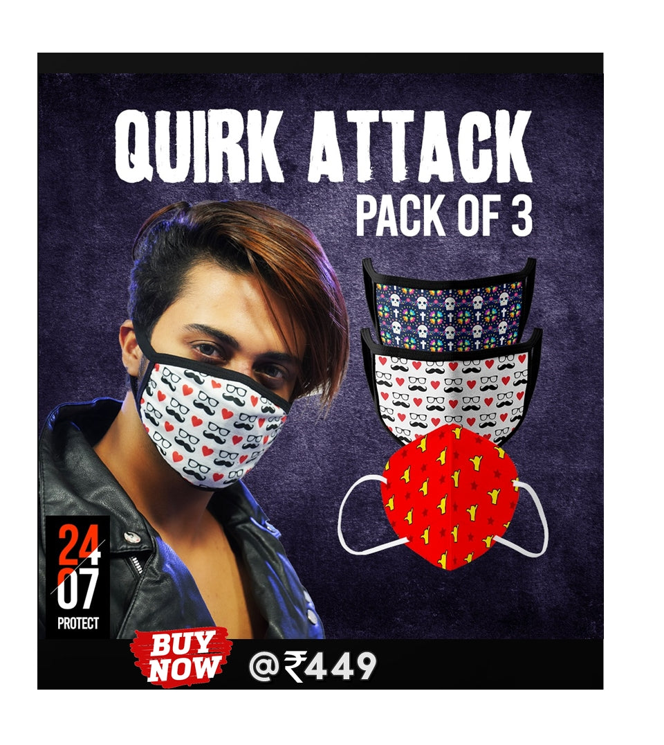 Quirk Attack - 6 Layer Face Mask - Pack of 3