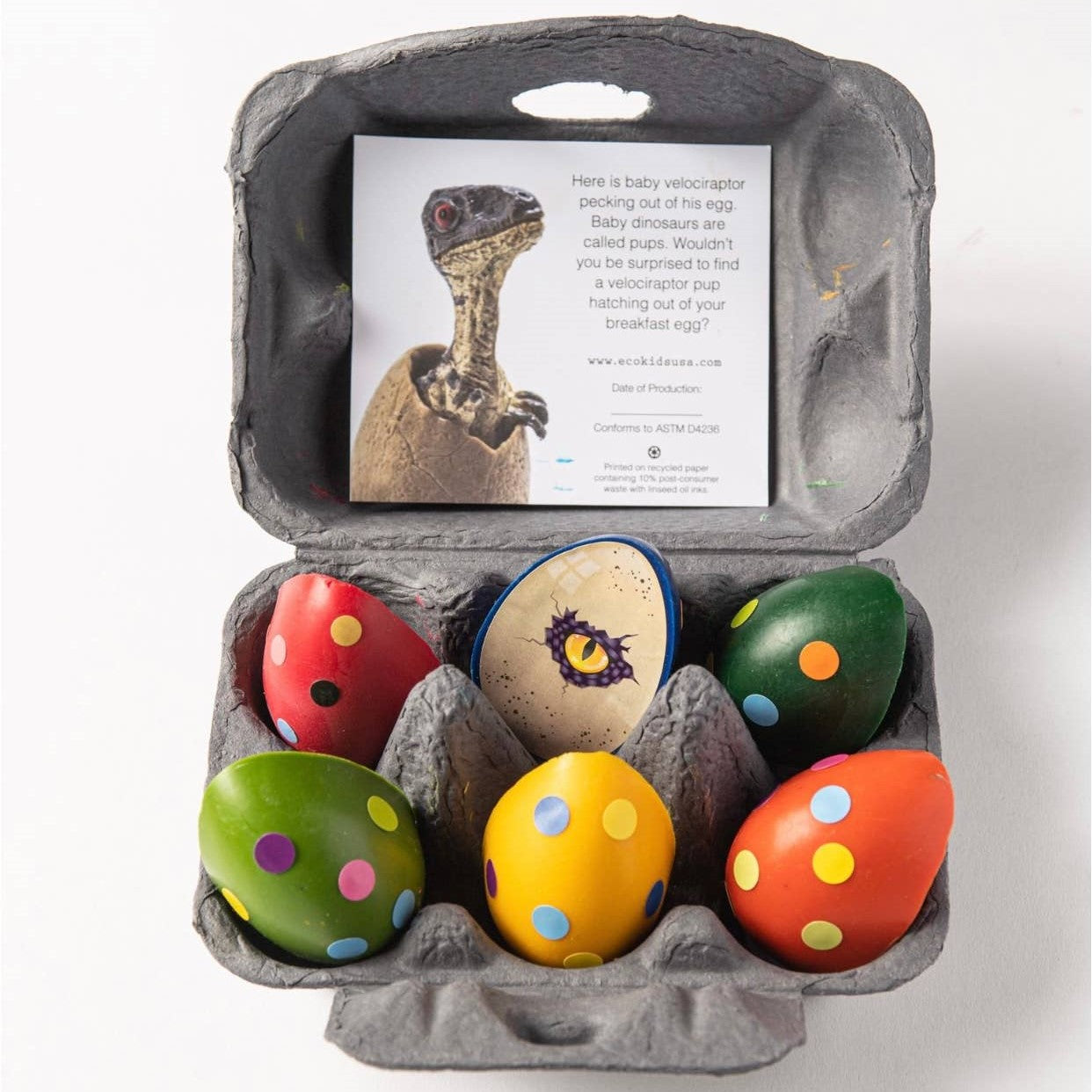 Dinosaur Eggs Beeswax Crayons (set of 6)