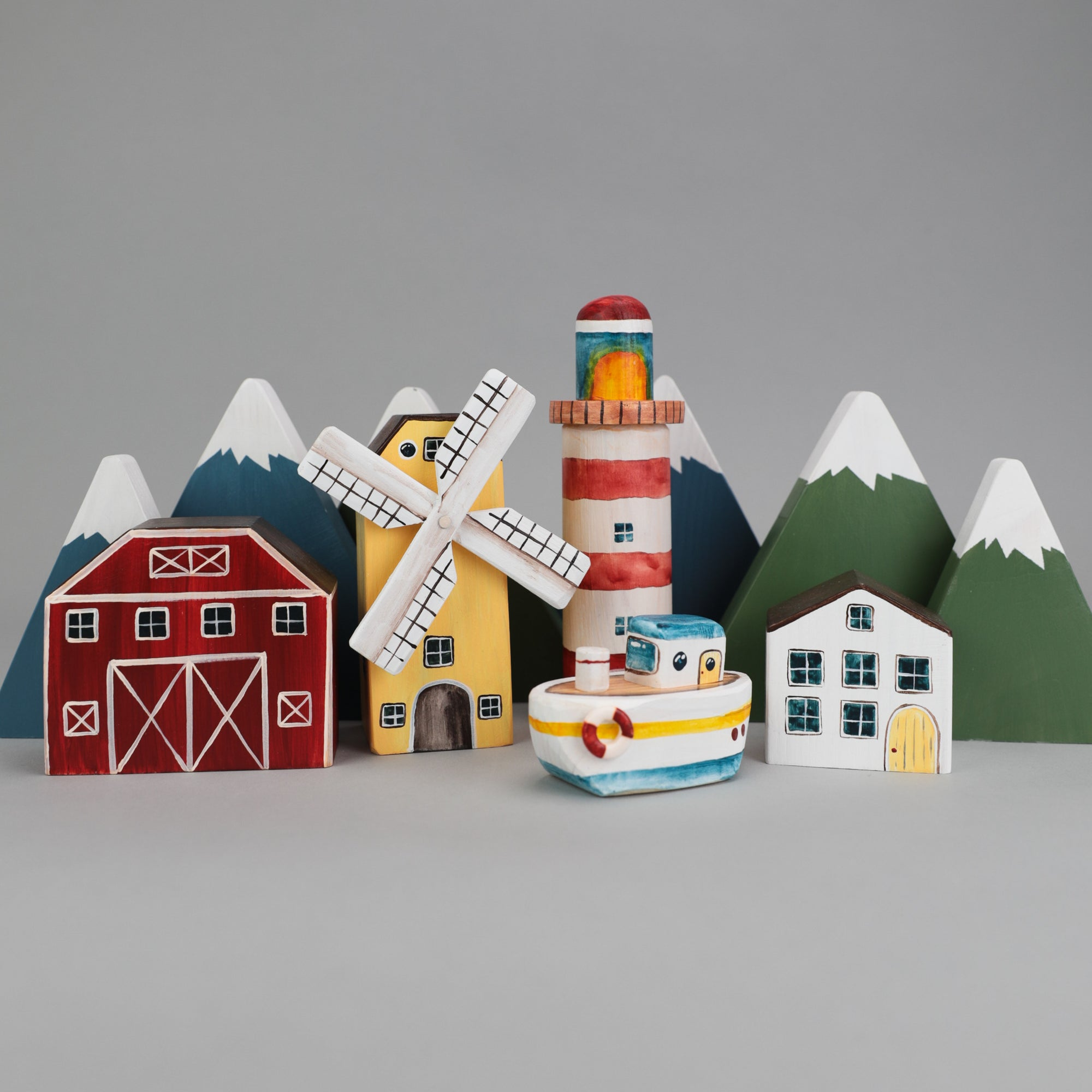 Wooden Port Town Play Set