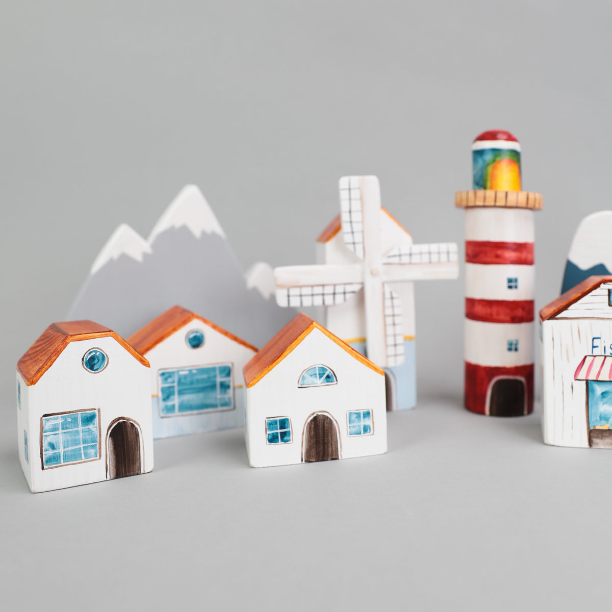 Wooden Winter Town Play Set