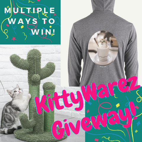 Product Giveaway including choice of Cactus Cat Tree or Cat Universe Hoodie.  Confetti!  Bright colours!  Many ways to win!