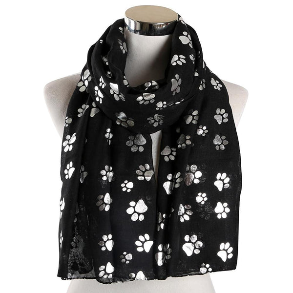Kitty Paw Print Polyester Scarf
