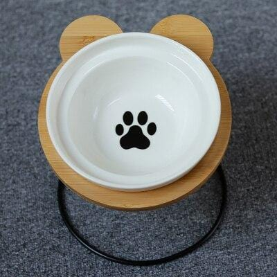 Bamboo and Ceramic Kitty Dinner Set & Elevated Feeding Stand