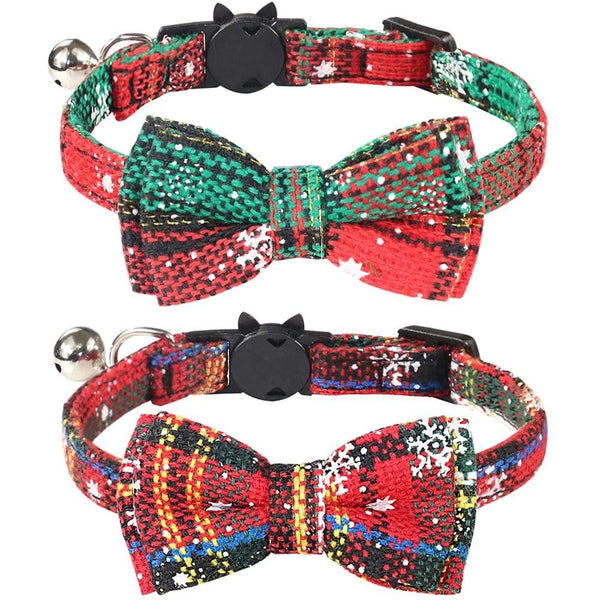 MEOWrry Christmas Holiday Bowtie Collar