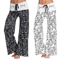 Black and White Kitty Pyjama Bell Bottoms
