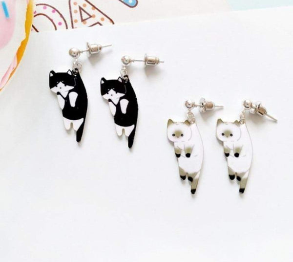 Droopy Kitty Earrings and Ear Clips