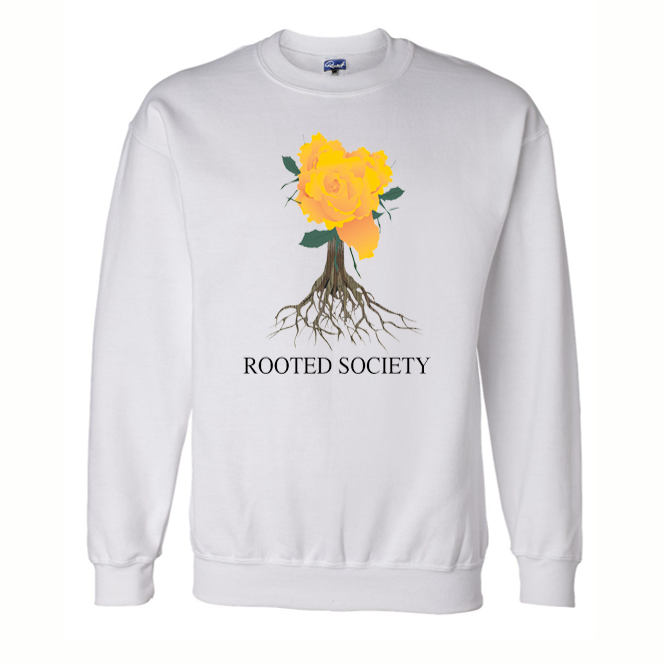 ROOTED TREE LOGO CREW NECK SWEATERS WHITE