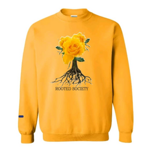 ROOTED TREE LOGO CREW NECK SWEATERS GOLD