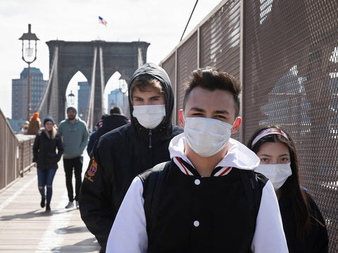 people wearing face masks in New York City