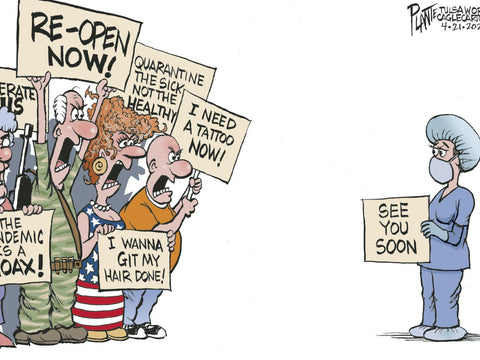 "Bruce Plante cartoon The Protesters nurse stood opposite angry protesters with sign that reads, ""See You Soon"""