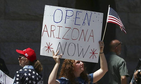 open arizona now sign American not wearing face mask during coronavirus