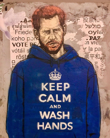 Prince Harry street art keep calm and wash hands
