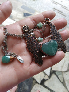 Electroformed Amazonite Heart Necklace
