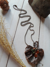 Load image into Gallery viewer, Leaf Necklace with Carnelian and Tourmaline