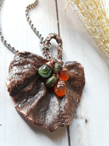 Leaf Necklace with Carnelian and Tourmaline
